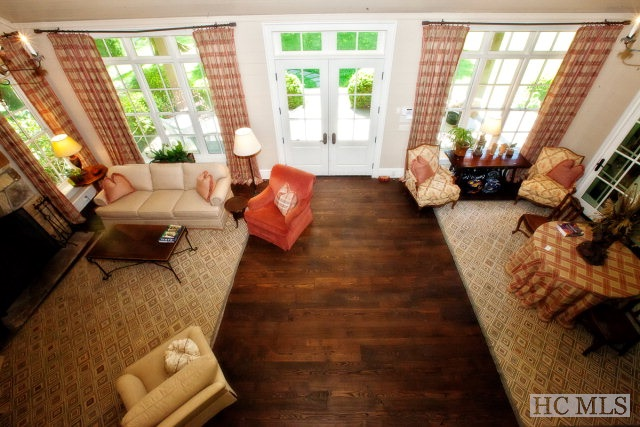 highlands estate and ranch for sale - overhead view of living room